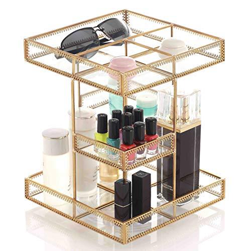 Miss Sweet Revolving Makeup Organizer Cosmetic Storage Adjustable 360-Degree Rotating (Gold)