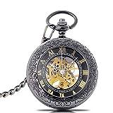 OMYLFQ Relojes de Bolsillo Reloj de Bolsillo mecánico de los Hombres de Acero de tungsteno Color tirón Retro Reloj de Bolsillo Romano Escala de Bolsillo del Reloj del Regalo de cumpleaños Relojes Fob