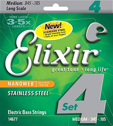Elixir .045 - .105 Bass 4 String Medium Long Scale Stainless Steel Nanoweb Guitar Strings