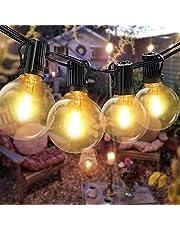 Bomcosy łańcuch świetlny na zewnątrz, z żarówkami G40, oświetlenie zewnętrzne, 12 żarówek z 1 żarówkami zapasowymi, 7,6 m, klasa ochrony IP45, wodoszczelny łańcuch świetlny do ogrodu, na taras, drzewa, podwórze, dekoracja domu, na imprezę, ciepła biel [Klasa energetyczna A++]