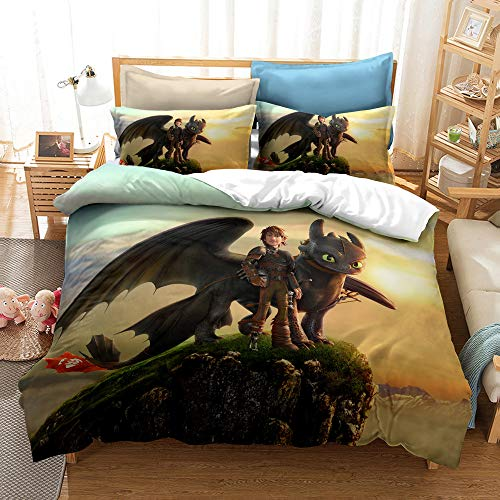 Meiju Duvet Cover Set Bedding Set with Microfiber Pillowcases & Zipper Closure Quilt Case 3D Printed for Boy Girl Single Double King Size Bed (140x200cm,How to Train Your Dragon 1)