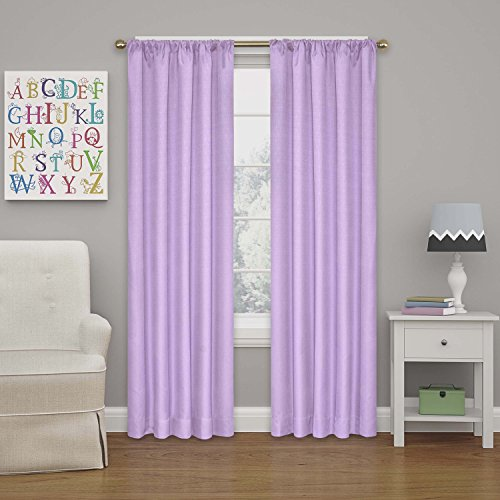 ECLIPSE Kendall Solid Blackout Window Curtains for Bedroom (Single Panel), 42' x 63', Light Purple