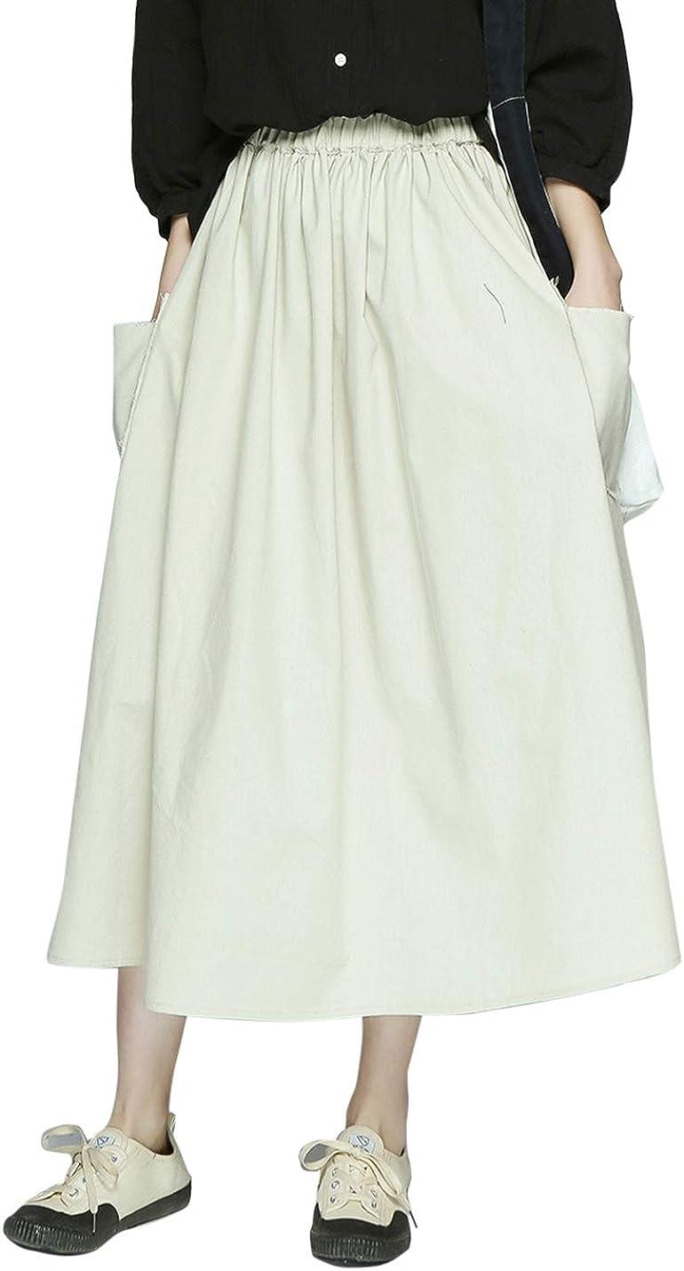 Yeokou Women's Casual Elastic Waist Pleated Flared Swing Linen Cotton Skirts