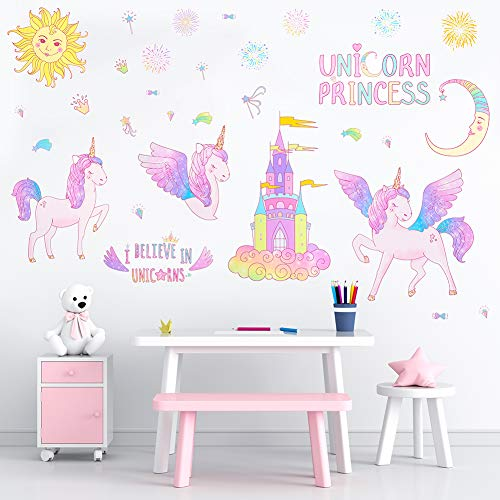 Basumee Unicorn Wall Stickers for Kids Girls Removable Wall Decal Decor for Home Bedroom Nursery Living Room Party Kids Gift, Lavender
