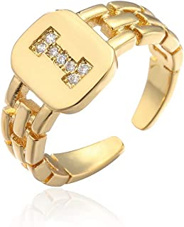 cmoonry Gold Cubic Zirconia Initial Letter Open Ring Adjustable for Women 18K Gold Plated Alphabet Rings Letter A to Z