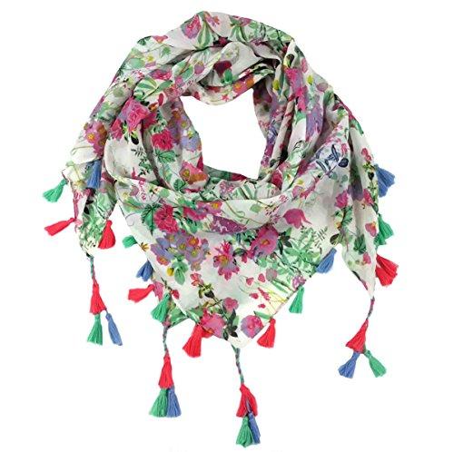 Lina & Lily Pañuelo bufanda cuadrado para mujer con muchos estampados de flores geométricas tribales aztecas (A1)