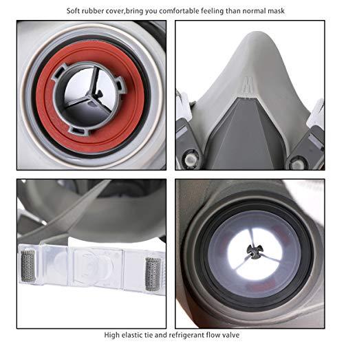 NASUM Halb Gesicht Abdeckung Wiederverwendbare, Serie Grau M101, mit Filter*2, Baumwolle*4(Mitte) - 6