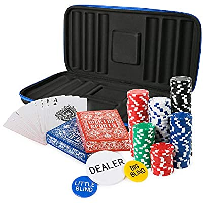 Westop Sports Poker Chip Set - 300 Premium Feel Chips - Softshell Case with Strap - Custom Molded Protection - All in one Set - Two Decks Spill Proof Cards - Travel Poker Set - Texas Holdem Poker Set