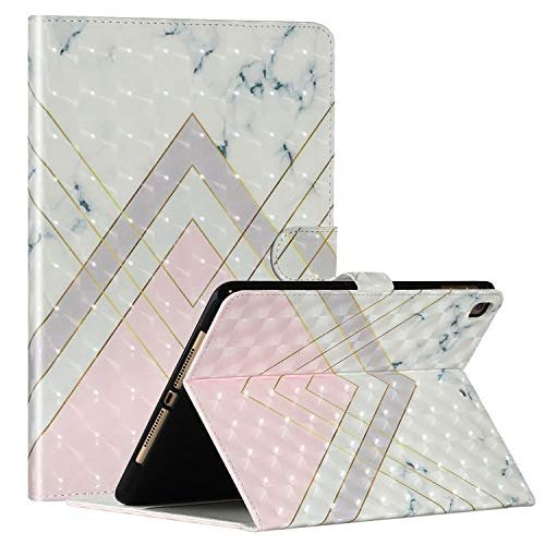Colorful Painting pattern Universal Tablet Case for Apple iPad 10.2 2019,i-Case Pu Flip Leather Case with Bracket and 3 Card Slots Shockproof Full Protective Cover for iPad 10.2 2019,Triangular Marble