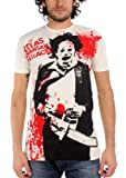 Photo de Générique Texas Chainsaw Massacre - Hommes d'éclaboussure d'impression de Big T-Shirt en Vintage White, X-Large, Vintage White par