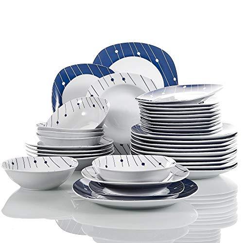 VEWEET Dot Juegos de Vajillas 24 Piezas de Porcelana con 6 Cuencos de Cereales, 6 Platos, 6 Platos de Postre y 6 Platos Hondos para 6 Personas