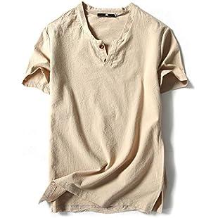 fpengfashion Men's Short Sleeve V Neck Shirt Casual Loose Solid Color Henley T-Shirt with Button Khaki L