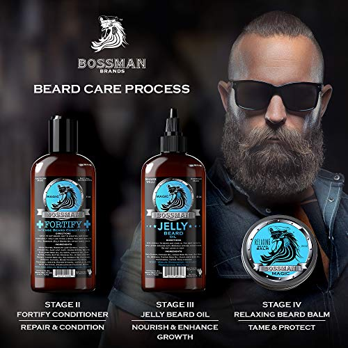Bossman Essentials Beard Kit - Beard Oil, Conditioner, and Balm (Magic Scent)