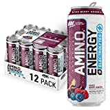 Optimum Nutrition Amino Energy + Electrolytes Sparkling Hydration Drink - Pre Workout, BCAA, Keto Friendly, Energy Powder - Mix Berry Sangria, 12 Count
