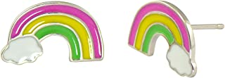 925 Sterling Silver Rainbow Cloud Earrings Studs for Girls Candy Color