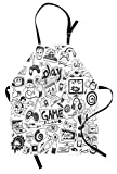 Video Games Apron, Monochrome Sketch Style Gaming Design Racing Monitor Device Gadget Teen 90's, Unisex Kitchen Bib with Adjustable Neck for Cooking Gardening, Adult Size, White and Black