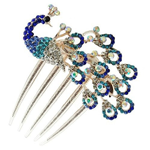 Sanwood Vintage Womens Peacock Hair Clip Rhinestone Hair Comb Beauty Tool