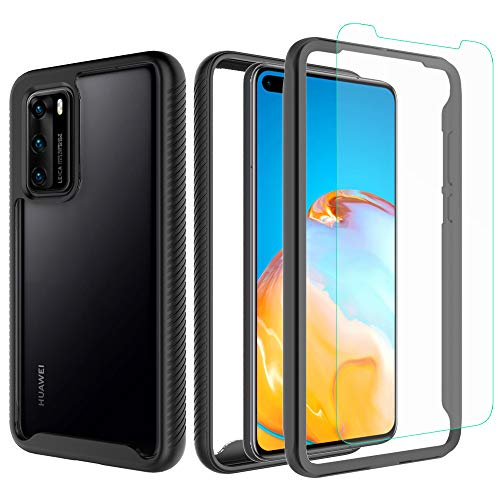 Valchinova for Huawei P40 Case 2 in 1 Hybrid Rugged Armor Cover Soft TPU + PC Bumper 360° Full Body Protect Non-Slip Shockproof + Tempered Glass Screen Protector (Black)
