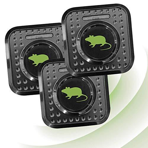 ISOTRONIC Ahuyentador ultrasónico de ratas y ratones | Repelente de ratas con ultrasonidos | Forma de enchufe | Para casa, sótano, terraza, granero | Controlar plagas sin veneno o trampa | Set de 3