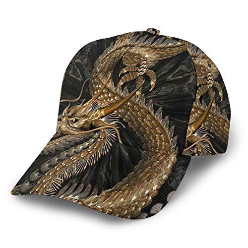 Nicokee Golden Chinese Dragon Hat Baseball Cap Adjustable Snapback Hats Ball Hat for Men and Women