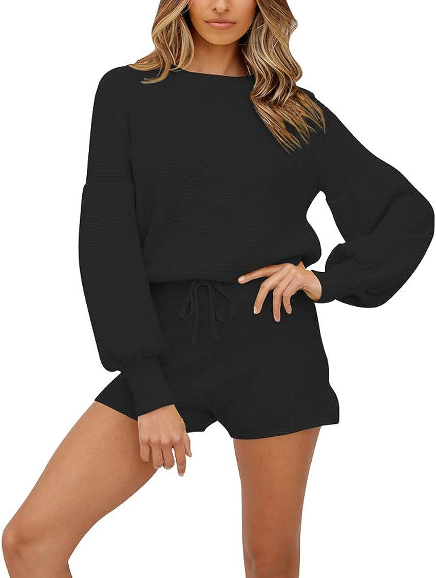 VamJump Womens 2 Piece 新着 Knit Outfits Pullover Sleeve 商品追加値下げ在庫復活 Puff Loose T