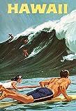 Froy Hawaii Surf Waves De Cartel de Chapa de Pared Cartel de Hierro Retro Pintura Placa de Chapa Hoja de Metal Vintage Arte Personalizado Creatividad Decoración Artesanía para Cafe Bar Garaje Hogar