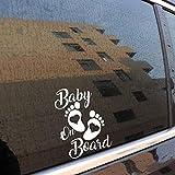 Stukk Stickers Autocollant en Vinyle pour fenêtre de Voiture Motif bébé à Bord 12,7 x 17,8 cm - Blanc