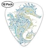 Guitar Picks 12-Pack,Greek Culture Art Textured Ancient Seahorse Idol Spiritual Life Cycle Artwork