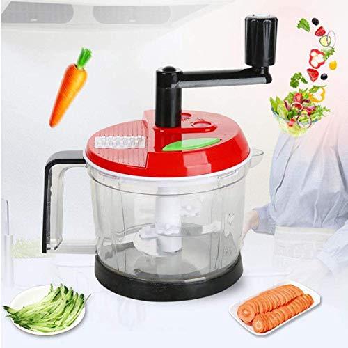 FEE-ZC Manuelle Sicherheit Hand Chopper, Küchenmaschine Scheiben Gemüse, Zwiebeln, Knoblauch Gebogene Edelstahl abnehmbare Klingen Multifunktion, rot