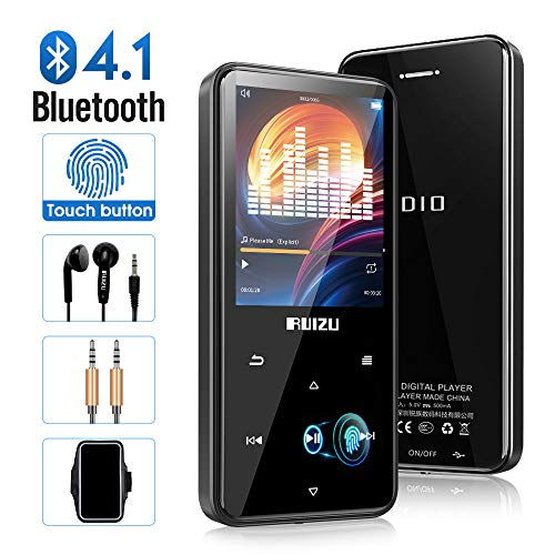 MP3 Player with Bluetooth 4.1, 8G Portable Lossless Sound MP4 Music Player with Touch Button 2.4'' Screen, FM Radio Voice Recorder, Video Playback, Build-in Speaker, Support Up to 128 GB