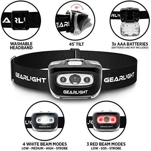 51Uhhz2cliL - GearLight LED Headlamp Flashlight S500 [2 PACK] - Running, Camping, and Outdoor Headlamps - Best Head Lamp with Red Safety Light for Adults and Kids