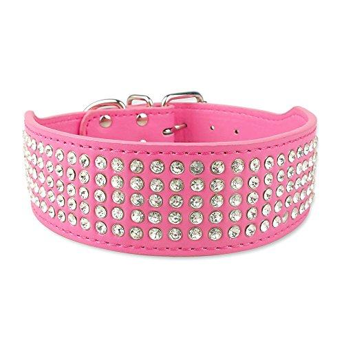 Lushpetz - Collar para Perro de 5 Filas con Diamantes incrustados para Razas Gruesas Medianas y Grandes como estafas, Laboratorios, Husky