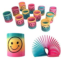12 mini smiley face rainbow spring Brightly coloured Great for party bags Excellent stocking fillers Size: Approximately 3.5 cm tall