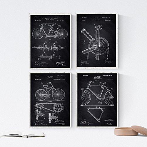 Nacnic Schwarz Fahrrad Patent Poster 4-er Set. Vintage Stil Wanddekoration Abbildung von Sports und Fahrradteilen. Verschiedene geometrische Alte Erfindungen Bilder ohne Rahmen. Größe A4.