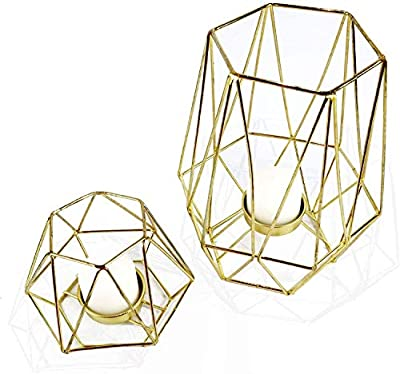 Wiosi Geometric Gold Tealight Holder for Table Decor Large and Small Metal Hexagon Votive Candle Centrepiece for Shelf Decor Set of 2