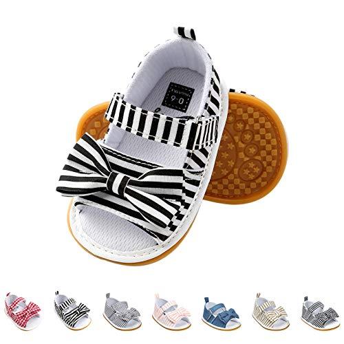 Sandalias de Bebé Niña con Bowknot, Zapatos de Verano para Infantil Pequeños con Suela Blanda (19 EU, Negro-Raya)