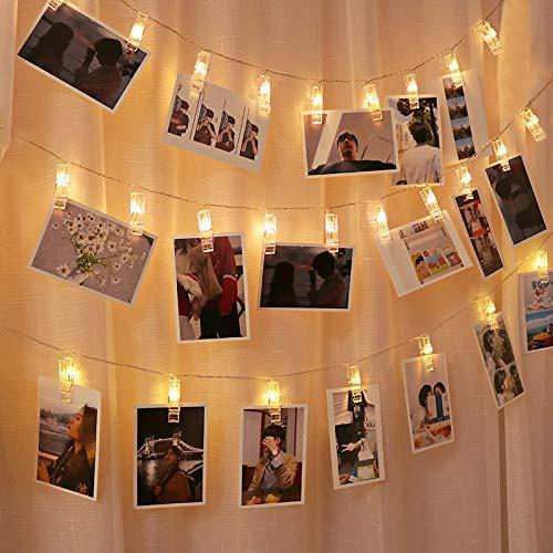 写真飾りライト LED ストリングスライト 3M 30LED 写真クリップ DIY壁飾り LEDイルミネーションライト ピクチャーフレーム ジュエリーライト ワイヤーライト クリスマス/新年/結婚式/誕生日/祝日/パーティー 写真飾りなどに適用 ウォームホワイト