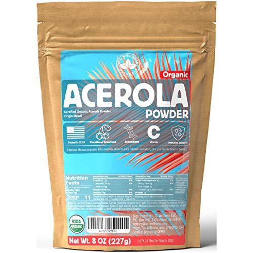 ACEROLA Powder 8oz   Certified Organic Acerola Cherry Powder   Immune System Booster   Natural Vitamin C SUPERFOOD   Blend for Shakes, Baking, Mixing Drinks, Vegan - 70 Servings