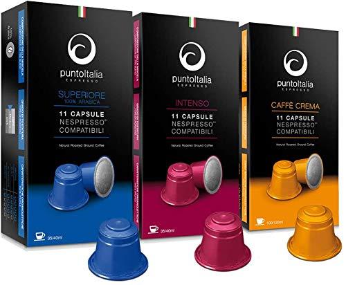 [Amazon限定ブランド] Punto Italia Espresso Journey プント・イタリア・エスプレッソ ネスプレッソ互換カプセル 1箱11カプセル入り エスプレッソカプセル トライアル 3箱セット