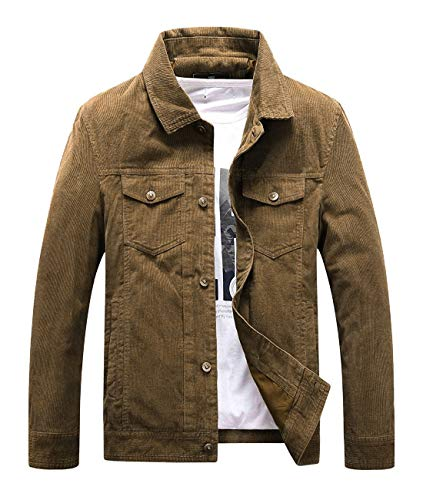 Mens Vintage Button-Front Slim Fit Corduroy Khaki Denim Jacket