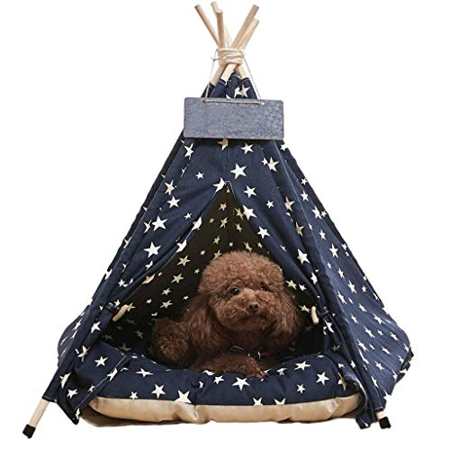 Estrella-L Luxury Dog Tents,Pet Teepee Dog Cat Bed & Pet Houses & Portable Pet Tents & Outdoor Pet Supplies For Pets Up To 15lbs(With Thick Cushion),L