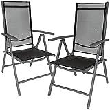 TecTake Aluminium Klappstuhl Gartenstuhl Set verstellbar mit Armlehnen - Diverse Farben und Mengen (Anthrazit | 2er Set | Nr. 401633)