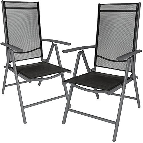 TecTake Aluminium Klappstuhl Gartenstuhl Set verstellbar mit Armlehnen - Diverse Farben und Mengen (Anthrazit   2er Set   Nr. 401633)
