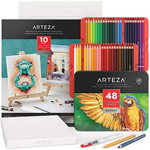 Arteza Aquarell Set mit 48 Aquarell-Buntstiften, Aquarellstifte Set und faltbarer Leinwandblock, Malset für Erwachsene, Künstlerbedarf für Kinder, Profis und Hobbymaler