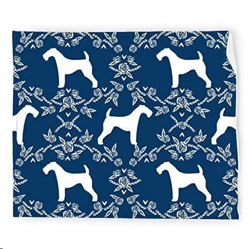 Airedale Terrier Silueta Florales Azul Marino Manta de Franela Manta de Ropa de Cama Manta Suave Cálida Acogedora Colorida Manta Decorativa para Sofá 127 x 152 cm