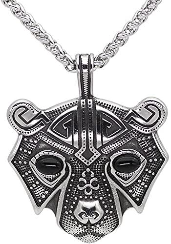 AMOZ Collares, Joyería, Usado para el Collar Del Colgante Del Amuleto Vikingo Nórdico de Cabeza de Oso de Acero Inoxidable de Los Hombres