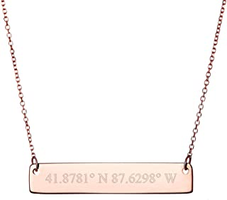 Rose Gold Plated Custom Coordinates Bar Necklace (16