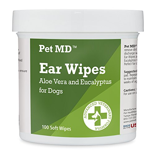 Pet MD Dog Ear Cleaner Wipes - Otic Cleanser for Dogs