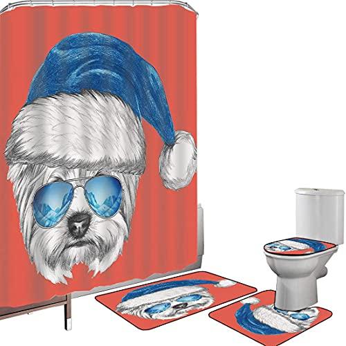 Juego de cortinas baño Accesorios baño alfombras Yorkie Alfombrilla baño Alfombra contorno Cubierta del inodoro Terrier con un sombrero azul de Santa y gafas de aviador espejo Fun Hy animales dibujado