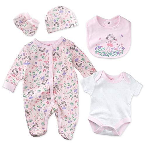 Rock A Bye Baby Set Mädchen weiß rosa | Motiv: Feen | Erstausstattung mit 5 Teilen für Neugeborene & Kleinkinder | Größe: 3-6 Monate (68)